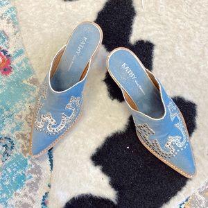 Blue silver western boho cowboy boot mules